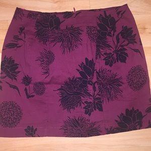 Zara Burgundy Flower Print Mini Skirt Size XS